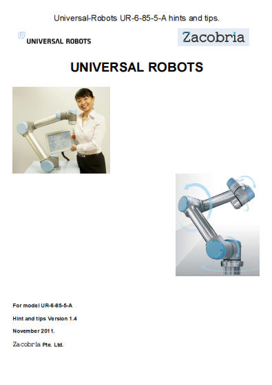 comprehensive hints and tips manual and curriculum for Universal-Robot in pdf